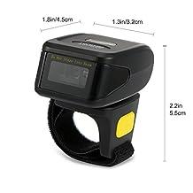 Bifrost Portable Ring QR Bluetooth Barcode Scanner 1D 2D Mini Barcode Reader Wireless Ring Scanner Support Scan PDF417 DataMatrix BS-6330[Black]