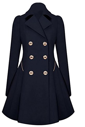 WSPLYSPJY Womens Fall Winter Double Breasted Peacoat Trench Coat Overcoat Navy Blue XL (Navy Blue Peacoat)