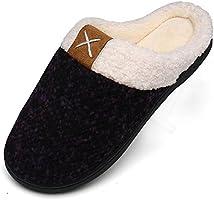 Mishansha Damen Herren Winter Wärme Hausschuhe Memory Foam Plüsch Pantoffeln rutschfest Slipper, Gr.36-47