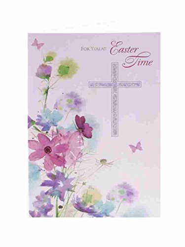 For You Traditional Purple Cross & Floral Christian Wishes Easter New Open Card Open Christian Cross