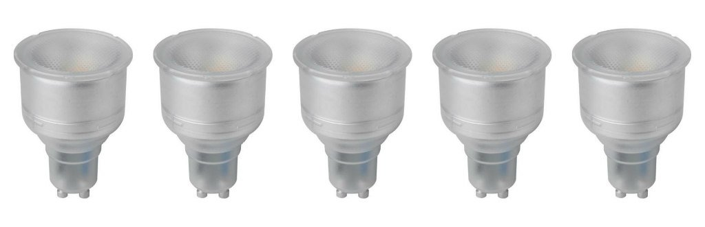 Megaman 141510 (MM06933) - Pack de 5 bombillas LED reflectoras de cuello largo GU10 PAR16 5 W 2800 K luz blanca cálida regulable - 5 W + linterna LED FREE ...