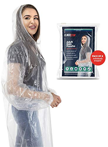 (Clinch Star Rain Poncho with Drawstring Hood and Elastic Sleeves for Adults 100% Waterproof- 8 Family Pack)