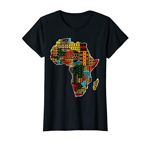Womens African pride traditional ethnic pattern Africa map t-shirt Medium Black (Africa Map T-shirt)