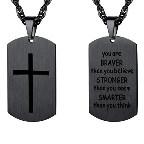 PROSTEEL Black Cross Dogtag Necklace,You are Braver Than You Believe,Military Dog Tag,Necklaces Pendants,Men Women Christian Jewelry, Inspirational Friendship Jewelry