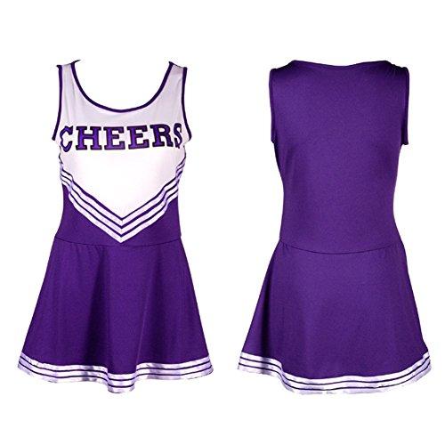 [Ladyker Womens Cheerleader Costume Cheerleading Halloween Uniform Fancy Dress Purple M] (Cheerleading Costumes Halloween)