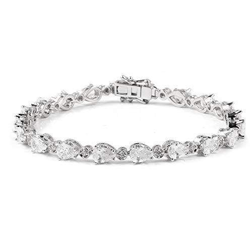 Shop LC Delivering Joy Silvertone Pear White Cubic Zirconia CZ Tennis Bracelet for Women 7.25