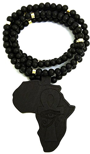 GWOOD Africa with Eye on Ankh Wood Pendant 36 Inch Long Beaded Necklace (Black) by GWOOD