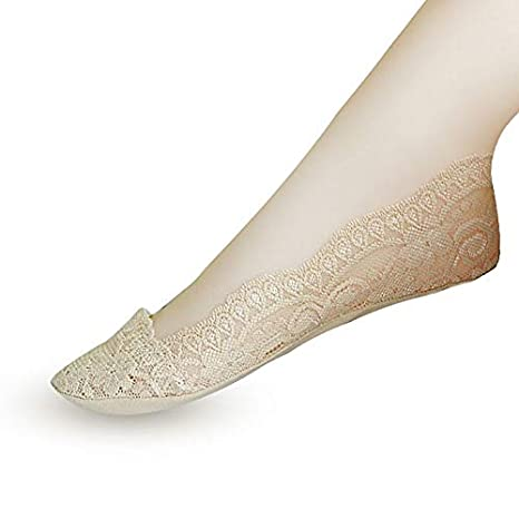 Amazon.com: Culturemart 3Pair Fashion Womens Socks Lace Ankle Socks Short Low Cut Cute Womens Invisible Antis Lace Heal Short Art Socks Calcetines: ...