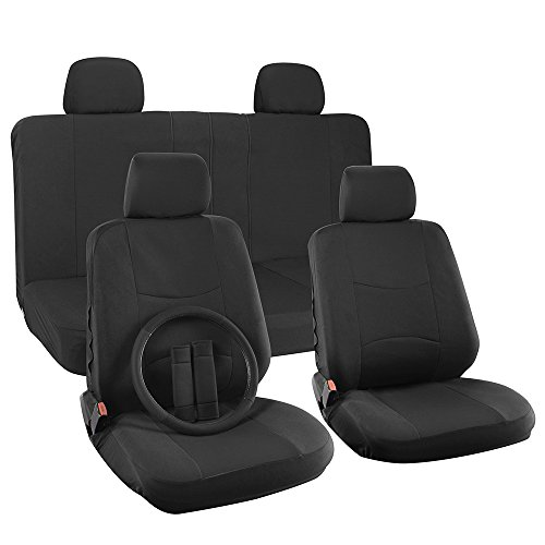 OxGord 17pc Set Flat Cloth Mesh Solid Black Broken Stripe Seat Covers Set - Airbag Compatible - Front Low Back Buckets - 50/50 or 60/40 Rear Split Bench - 5 Head Rests - Universal Fit for Car, Truck, Suv, or Van - FREE Steering Wheel Cover (2014 Dodge 3500 Seat Covers compare prices)