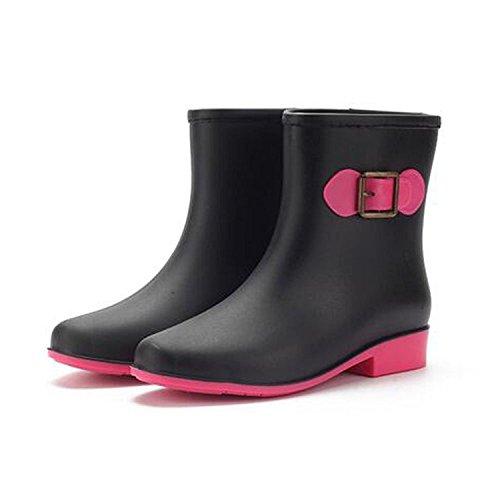 Minetom Mujer Casual Moda Botines De Lluvia Festival Botas De Agua Muy Ligera Impermeable Anti-deslizante Arco Zapatos Rain Boot Negro