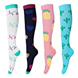 ONESING 4 Pairs Compression Socks for Women & Men (20-30mmHg) Running Stocking Best for Sport, Nurse, Travel, Cycling Compression Stocking