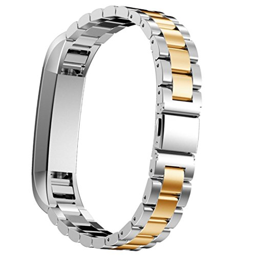 D.B.MOOD Band for Fitbit Alta Smart Watch,Stainless Steel,7 Color,8.26 Inches Silver Gold