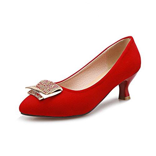 Balamasa Kvinners Studded Rhinestones Metallspenner Glass Diamond Frostet  Pumper-sko Røde