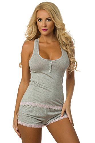 (Velvet Kitten Sweetness Short Sexy PJ Camisole Set Pajama Sleep Shirt Sleepwear (Grey, Large))