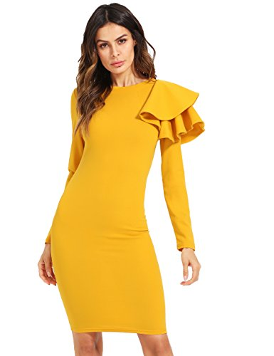 Knee Bodycon Women's Long Sleeve Floerns Yellow Dress Length Elegant 1H7vAnnf