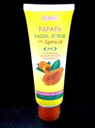isme-papaya-facial-scrub-with-apricot-whitening-anti-melasma-blemish-freckles-by-carun