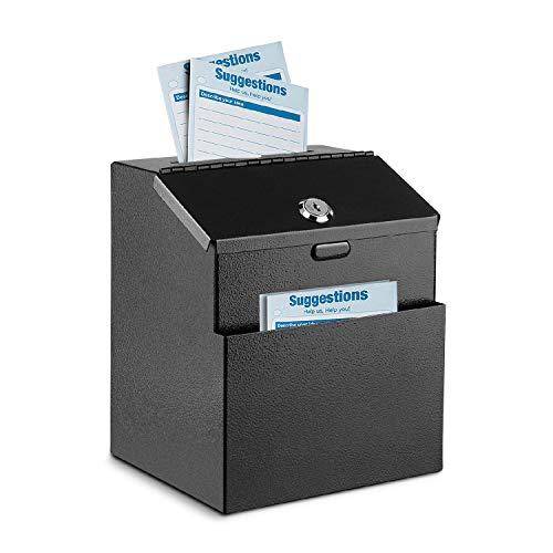 Flexzion Suggestion Box with Lock Wall Mounted Multi-Purpose Donation Ballot Charity Mailbox Idea Forms Collection Key Drop Box w/ 25 Feedback Cards, Expansion Bolts & Keys (Black)