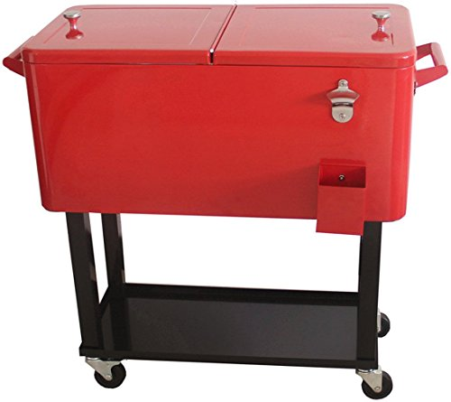 HIO 80 Qt Outdoor Patio Cooler Table On Wheels, Rolling Cooler With Shelf, Red by HIO