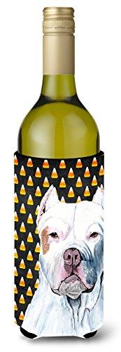 Pit Bull Candy Corn Halloween Portrait Wine Bottle Beverage Insulator Beverage Insulator Hugger -