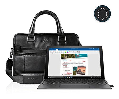 reboon Echt-Leder Laptop-Tasche in Schwarz Leder für HP Spectre x2 2 in 1 Touch Screen 12 3 | 13 Zoll | Notebooktasche Umhängetasche | Damen/Herren - Unisex | Premium Qualität Schwarz Leder y992Yo