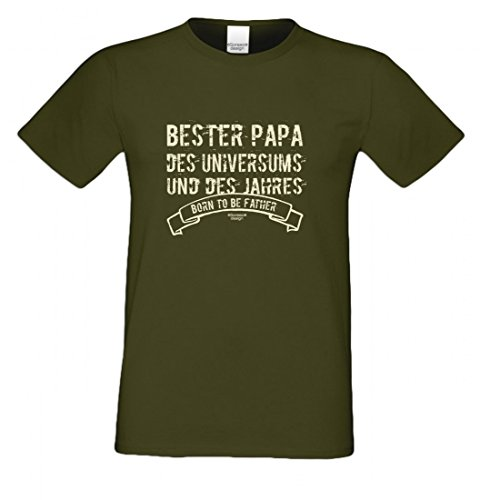 ... Humor zum Vatertag oder einfach so, Größe L Farbe 11-Khaki. T-Shirt als  Geschenk für den Vater - Bester Papa des Universums - Ein Danke