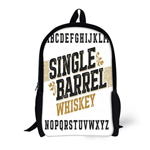 Pinbeam Backpack Travel Daypack Beer Single Barrel Whiskey Label Any in Vintage Waterproof School Bag