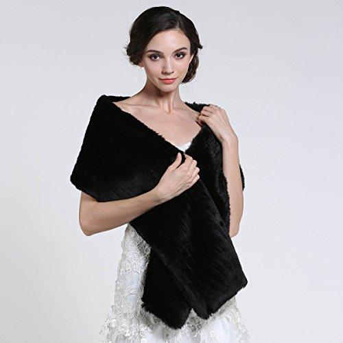 Aukmla Women's Faux Fur Shawls and Wraps Bridal Wedding Stole (Black) by Aukmla (Image #5)