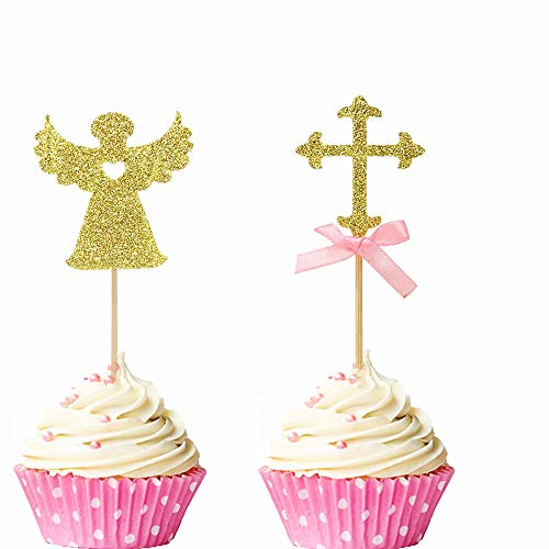 Cake Angel Birthday (JeVenis 24 PCS Pink Sparkly God Bless and Baptism Cupcake Toppers Cross Cupcake Topper Angel Fairy Cake Topper Christian Party Decorations Favor Wedding Birthday Cake Decor)
