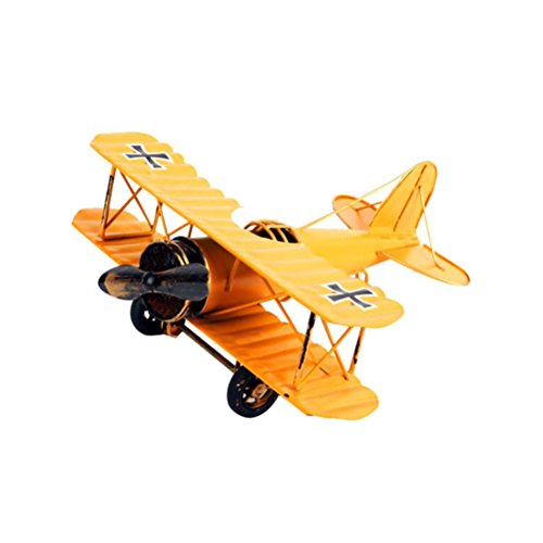 VORCOOL Vintage Airplane Model Metal Handicraft Wrought Iron Aircraft Biplane Pendant Toys Collectible Iron Art Sculpture Home Desk Workplace Office Decoration (Yellow) by VORCOOL