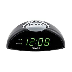 Sharp Digital Alarm Clock - Easy to See Green LED Display - Simple to Use Controls- Stylish Design, Simple Operation - Battery Backup