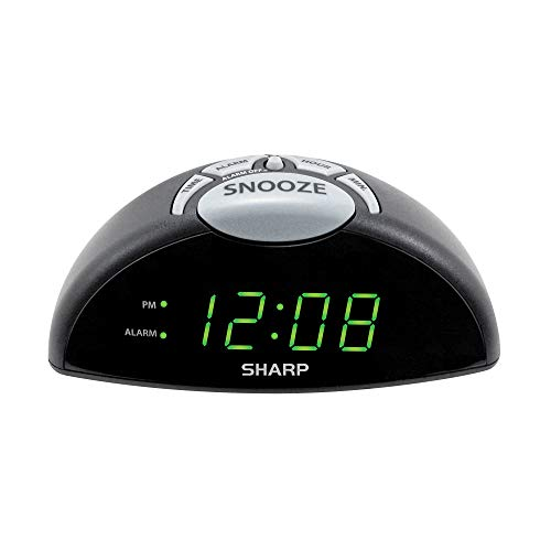 Green Set Clock - Sharp Digital Alarm Clock - Easy to See Green LED Display - Simple to Use Controls- Stylish Design, Simple Operation - Battery Backup