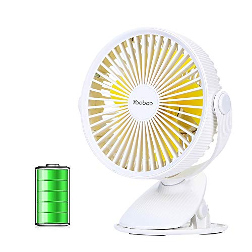 Yoobao Battery Operated Clip on Stroller Fan, Portable Personal Fan, Small USB Rechargeable Desk Fan (360°Rotation, 3-Speed) for Baby Stroller, Crib, Home, Office, Outdoor Camping & Travel - White