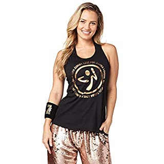 Zumba Black Loose Graphic Print Dance Tank Tops Active Workout Tops for Women