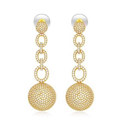 SHINCO Vintage 18k Gold Plated Circle Link Drop Earring Dangles CZ Diamond Wedding Jewelry, Valentine Day Gift ()