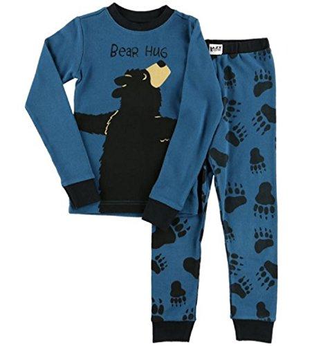 Lazy One Blue Bear Hug Cotton Pajamas for Little Boys
