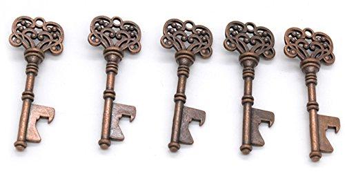 5 Pack Vintage Metal Skeleton Key Rustic Wedding Party Favor Decor Bottle Opener Keychain Ring Chains Wrist Holder Strap Transcendental Popular Beer Openers Corkscrew Catcher Knife Utility Pocket