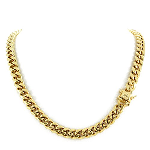 Harlembling Men's Miami Cuban Link Chain 14k 18k Yellow Gold White Or Rose Gold Plated Stainless Steel 8-18mm Thick (18k Yellow Gold 10mm, ()