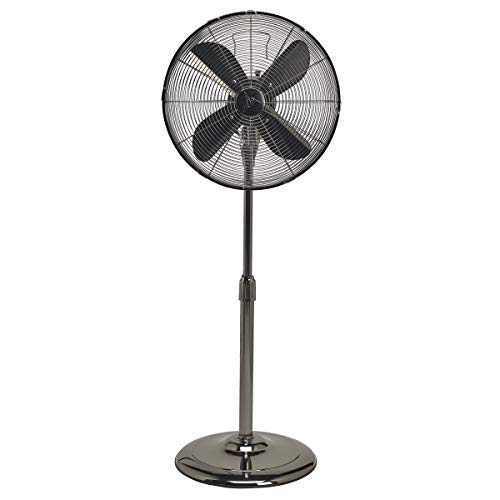 Floor Standing Fan - Oscillating Indoor Pedestal Fan Made With Stainless Steel (Black ()