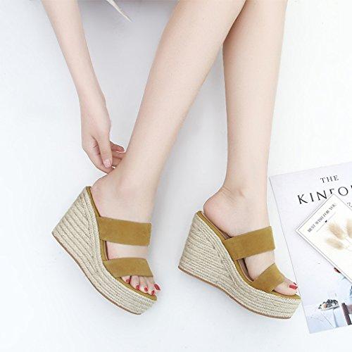 pies Size para Color Sandalias señoras de suela Yellow Zapatillas altas altas 34 gruesas para cuñas Zapatillas QINGTAOSHOP gruesa Yellow AC50wqaxx