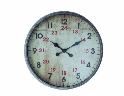Cheap Creative Co-op DA2337 Distressed Grey Metal Wall Clock with Standard & Military Hours