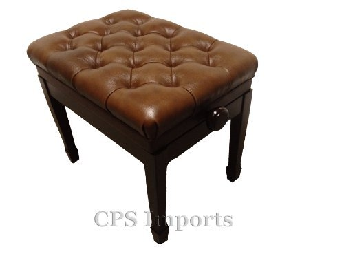 Adjustable Pillow Top Genuine Leather Artist Piano Bench in Walnut Satin