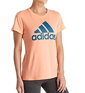 adidas Women's Badge of Sport Logo Tee, Chalk Coral/Real Teal, Medium