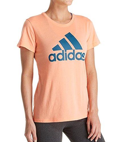 adidas Women's Badge of Sport Logo Tee, Chalk Coral/Real Teal, Medium
