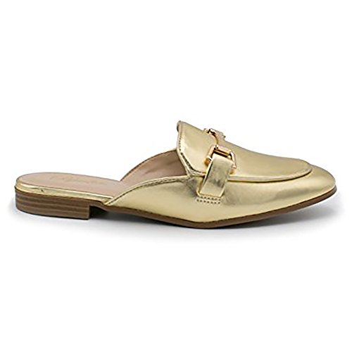 Paprika Da Donna Oro Tono Morsetto Con Ferretto Backless Slip On Oro Mocassino