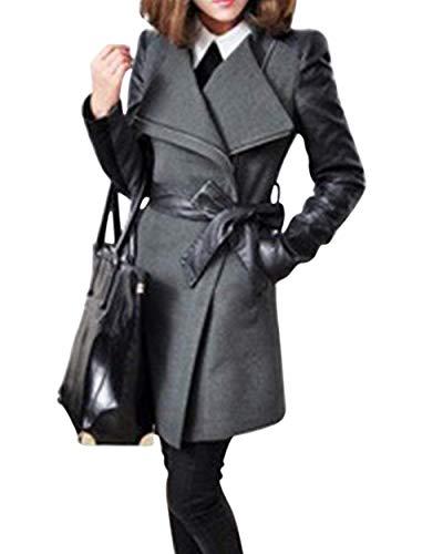Donne Donna Cerniera Giacca Cucitura Lunga Cappotto Con Slim Trench Cappotti Fit Grau Finta Casual Vintage Classiche Manica Lunghe Primaverile Outwear Fashion Pelle Autunno 1IxqadwS
