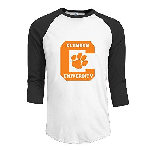Clemson University Logo Men's Classic 3/4 Sleeve Baseball T Shirt