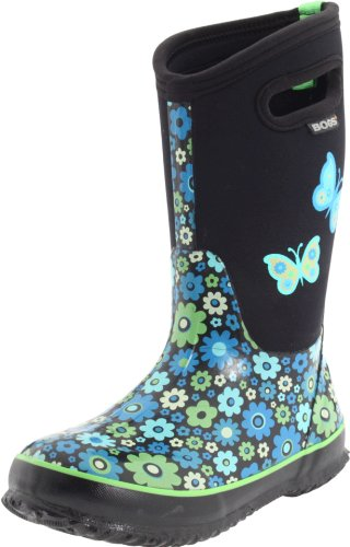 Bogs Kids Classic High Waterproof Insulated Rubber Neoprene Rain Boot, Daisy/Blue/Multi, 11 M US Little (Classic High Daisy)