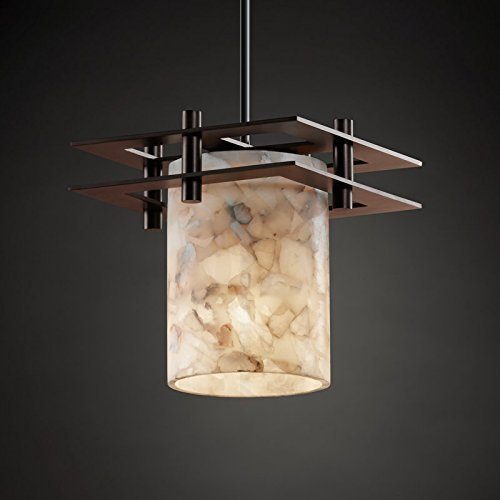 - Justice Design Group ALR-8165-10-CROM-RIGID Alabaster Rocks! 1 Light Mini Pendant with Rigid Stem Kit and Cylindrical Shade with Flat Rim