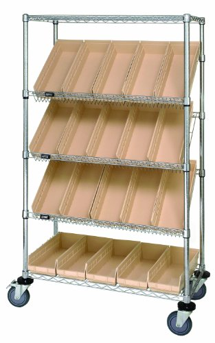 Quantum Storage Systems WRCSL5-63-1836-104IV 5-Tier Slanted Wire Shelving Suture Cart with 20 QSB104 Ivory Economy Shelf Bins, 2 Horizontal and 3 Slanted Shelves, Chrome Finish, 69