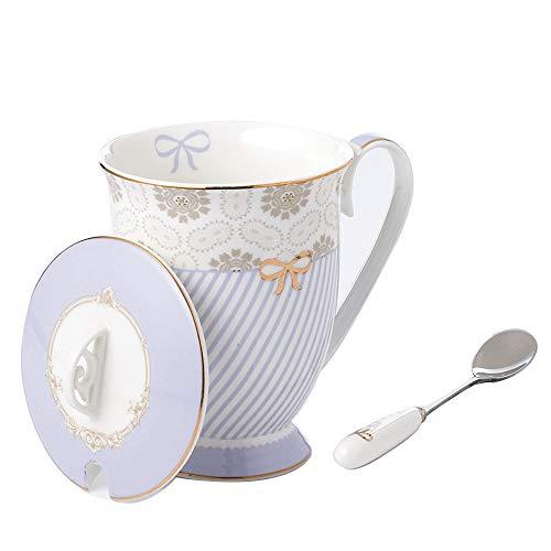 Fine China Mugs Ceramic Mug with Lid Tea Cup and Lid and Spoon Set B.Hamster Royal Fine Bone China Coffee Cup Light Purple Stripe With Lid 17Oz